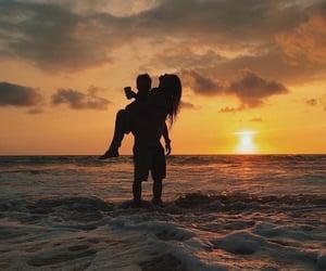 beach, love, and sunset image