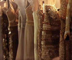 dress, gold, and aesthetic image