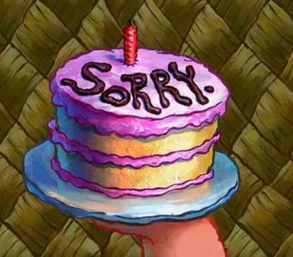 sorry, spongebob, and cake image
