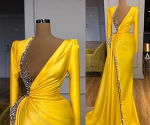 robe de soirée, yellow evening dress, and beaded evening dresses image