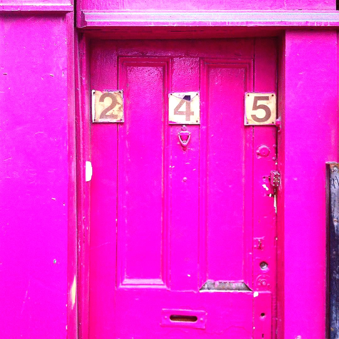 doors, pink, and address image