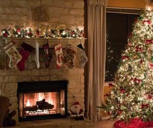 christmas tree, fireplace, and merry christmas image