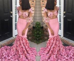 evening gown, pink evening dress, and modest evening dress image