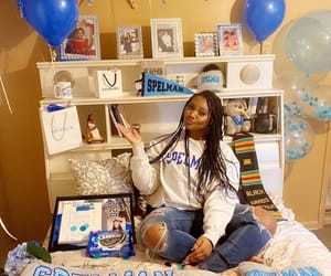 blue and white, college, and black girls image