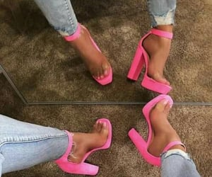 fashion shoes, pink heels, and heels image