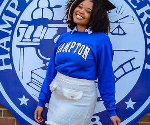 blue and white, black girls, and college image