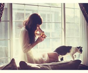 cat, girl, and butterfly image