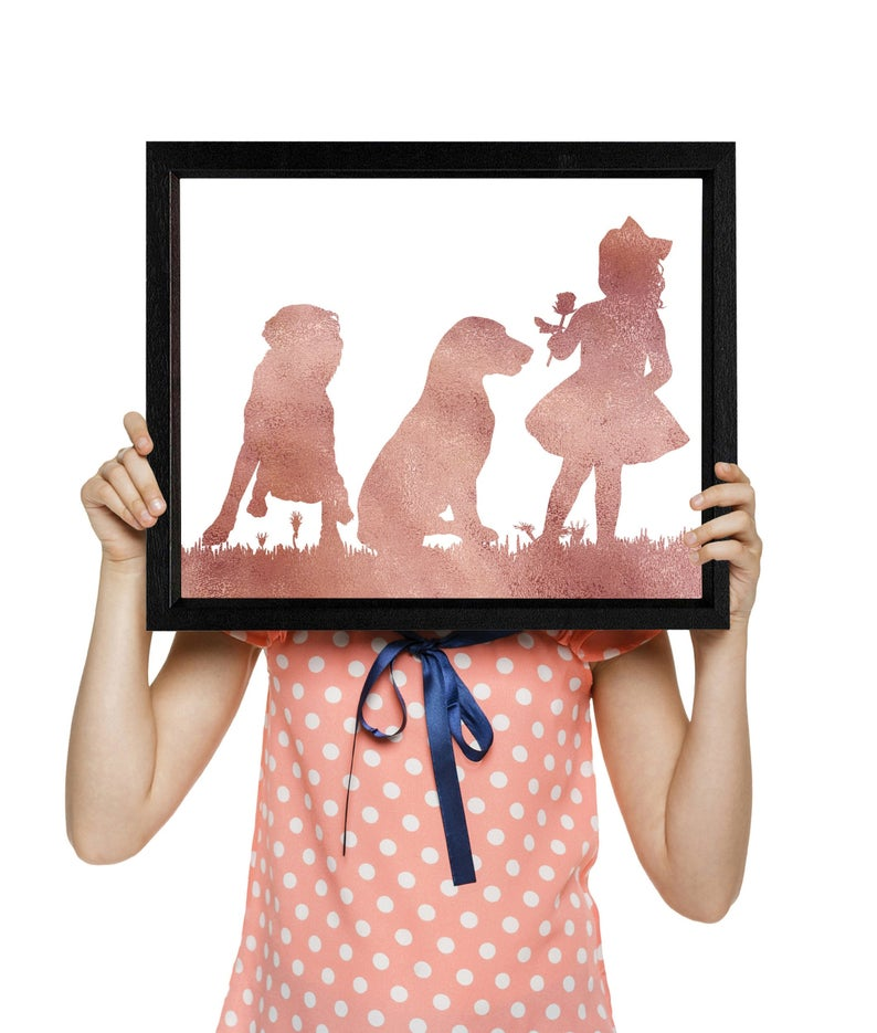 Girl and dogs, Labrador, Labradoodle mix, Rose gold wall art, Nursery decor girl, Dogs print, Girly Tutu dress, Instant download