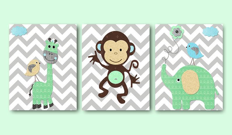 Grey Mint Beige Blue Monkey Giraffe Owl Canvas Print image 0