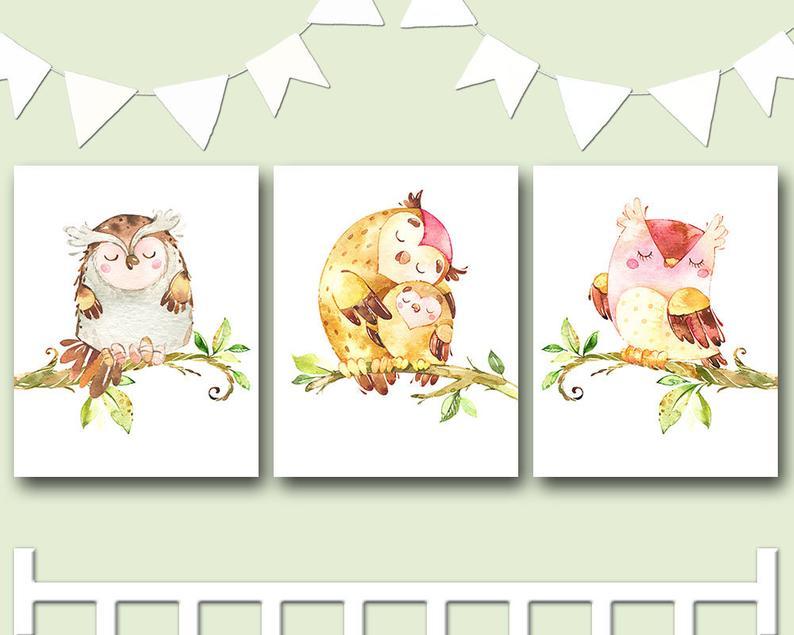 Owl Decor Owls Nursery owl family print owl wall art Baby image 0