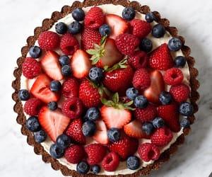 cake, fruit, and strawberry image