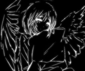 anime, black and white, and cyber image