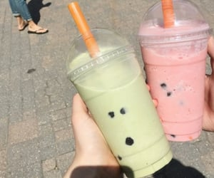 drink, green, and pink image