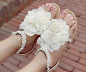 shoes, sandals, and flowers image