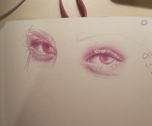 coloured pencils, drawing, and eyes image