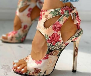 floral, heels, and sandals image