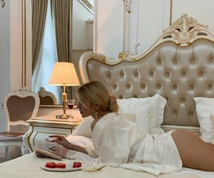 bed, blonde, and food image