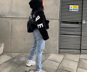 black coat, balenciaga sneakers shoes, and white sneakers image
