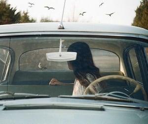 car, girl, and bird image