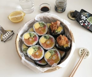 food, meat, and sushi image