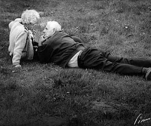 black and white, old, and love image