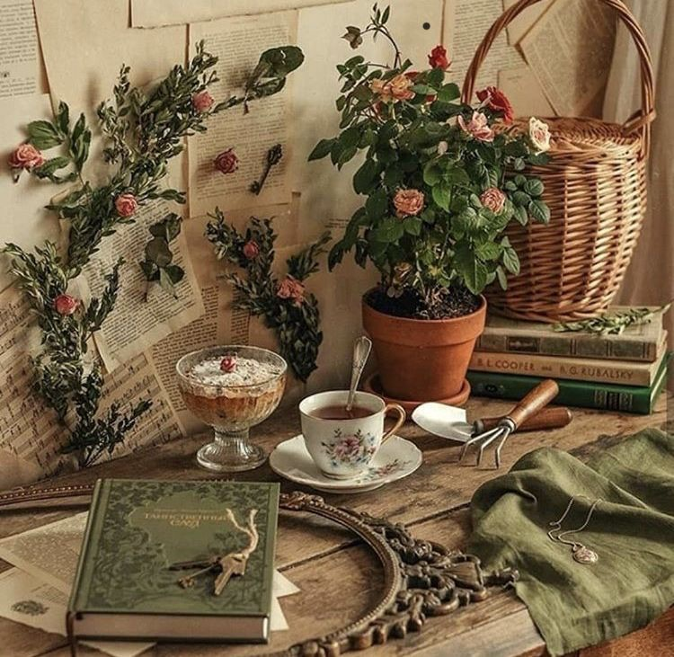 vintage, books, and tea image