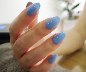 baby blue, blue nail polish, and manicure image