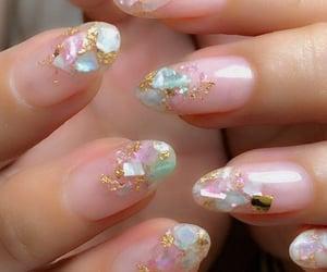 crystal, nailart, and gold image