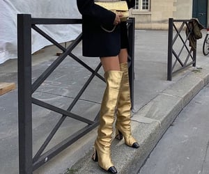 fashion, gold, and high boots image