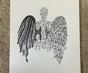 art, devil and angel, and drawing image