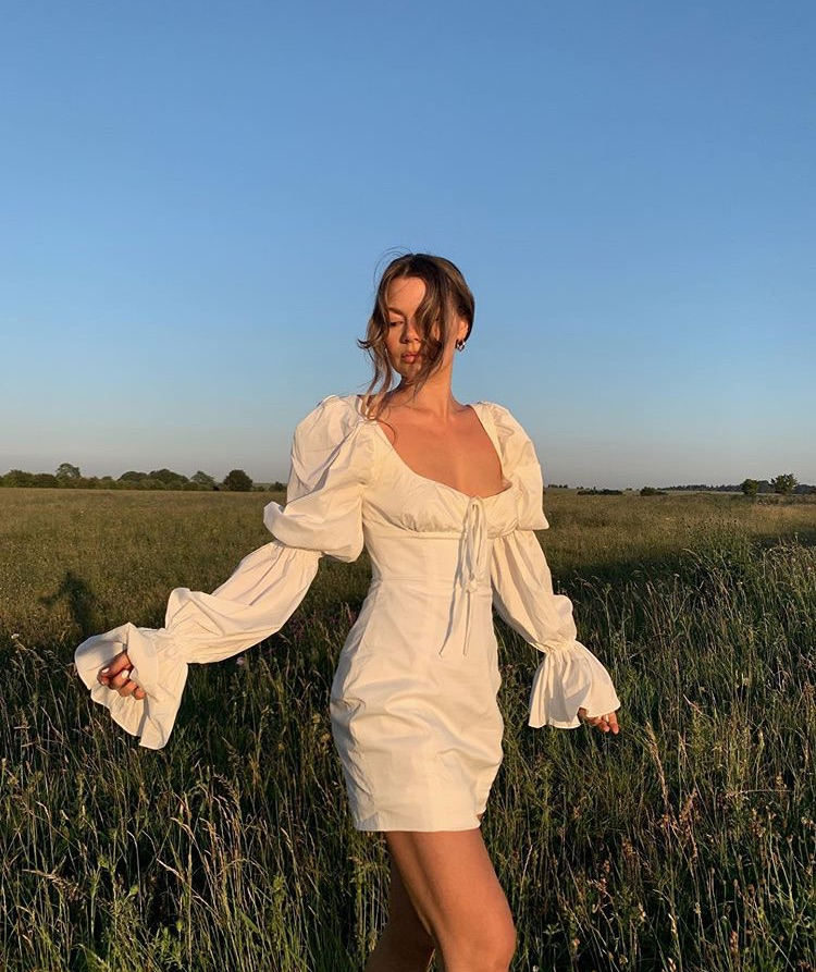sunset, long sleeve dress, and summer vibes image