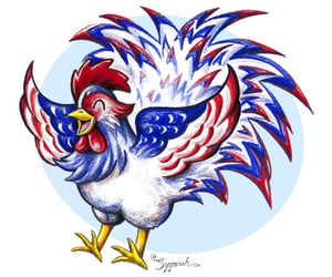 art, fourth of july, and rooster image