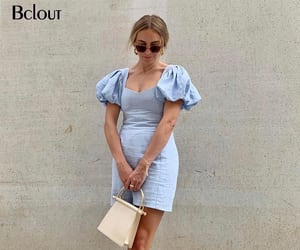 Bclout Sexy Puff Sleeve Mini Dress Women Summer Short Sleeve Square Collar Casual Dress Female Solid Blue Vestidos Women Basic|Dresses| - AliExpress