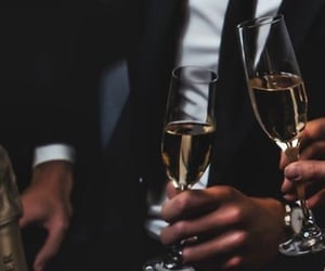 drink, suit, and champagne image