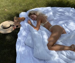 girl, bed, and bikini image