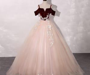 lace, long dress, and pink dress image