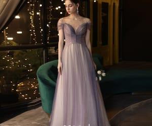girl, glitter tulle, and long dress image