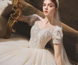 girl, long dress, and vintage wedding dress image