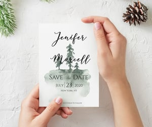 etsy, custom save the date, and pineforest image