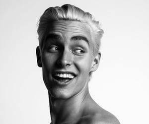 black and white, blonde hair, and model image