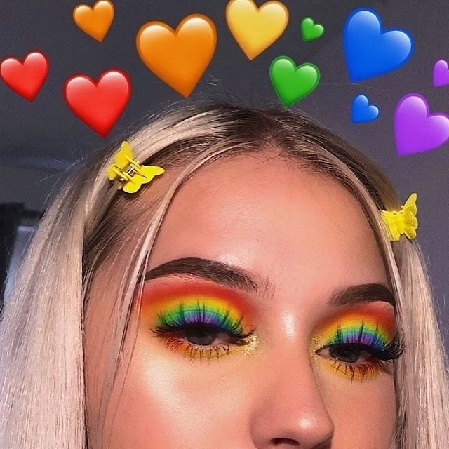 makeup, rainbow, and girl image
