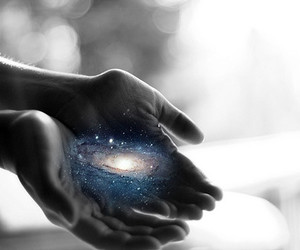 hands, universe, and galaxy image
