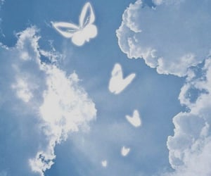 butterfly, clouds, and blue image