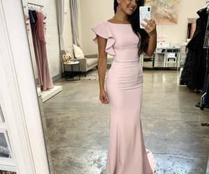 evening dress, prom dresses, and pink prom dresses image