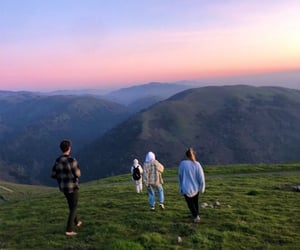 friends, mountains, and sunset image