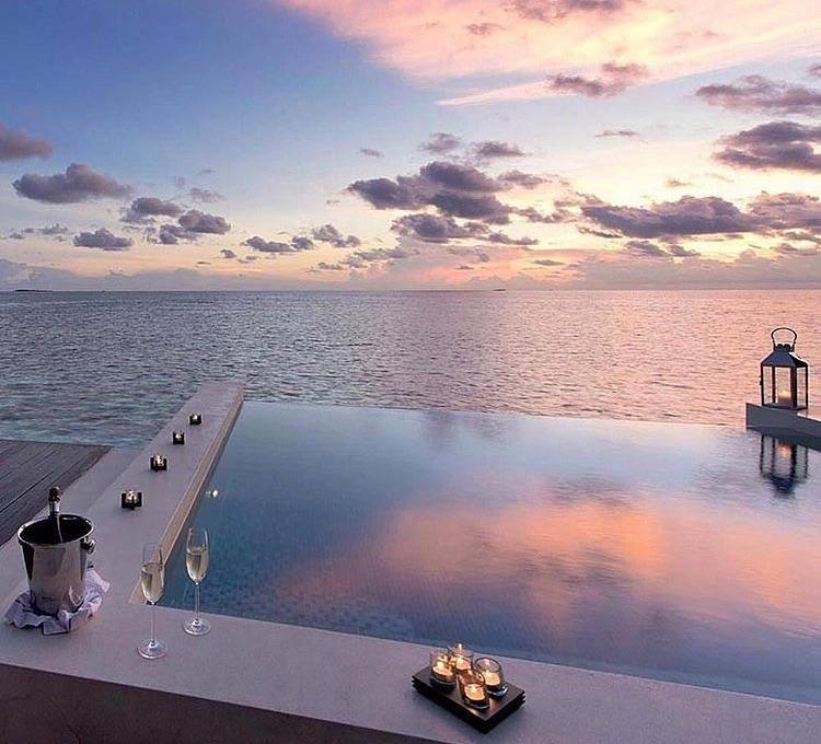 sky, beautiful, and pool image