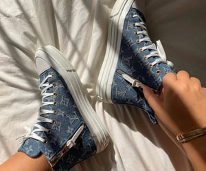 sneakers, blue, and Louis Vuitton image