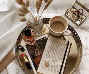 fashion, coffee, and makeup image