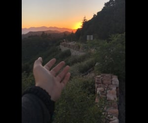 mountains, views, and beautiful sunset image