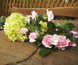 flowers, pink rose, and hortensia image